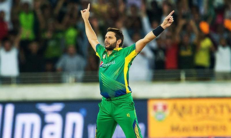 Shahid Afridi reacts after taking a wicket. — AFP/File