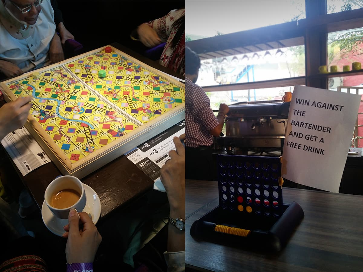 You can play snakes and ladders or try your hand at beating the bartender for a free drink!