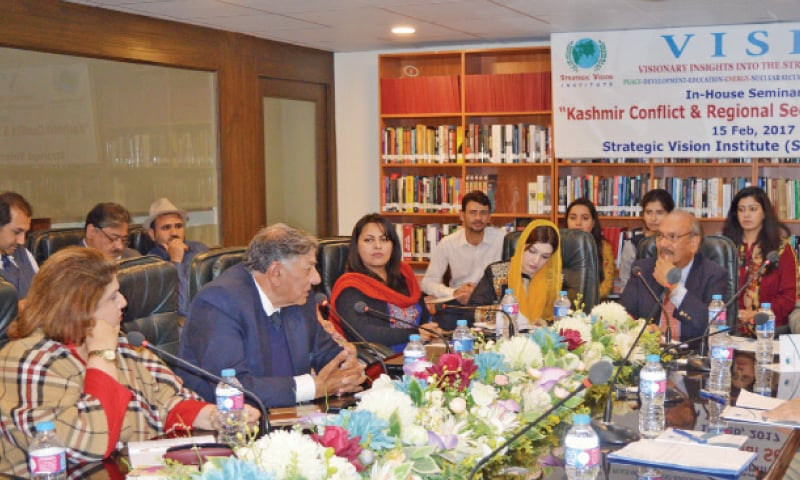 Former ambassador Riaz Khokhar speaks at a meeting which discussed Kashmir and security in the region.