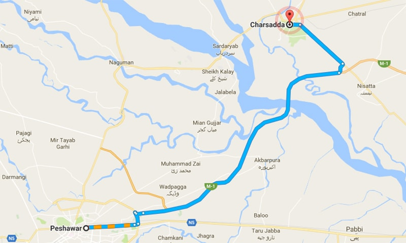 Charsadda is approximately 30km away from Peshawar.