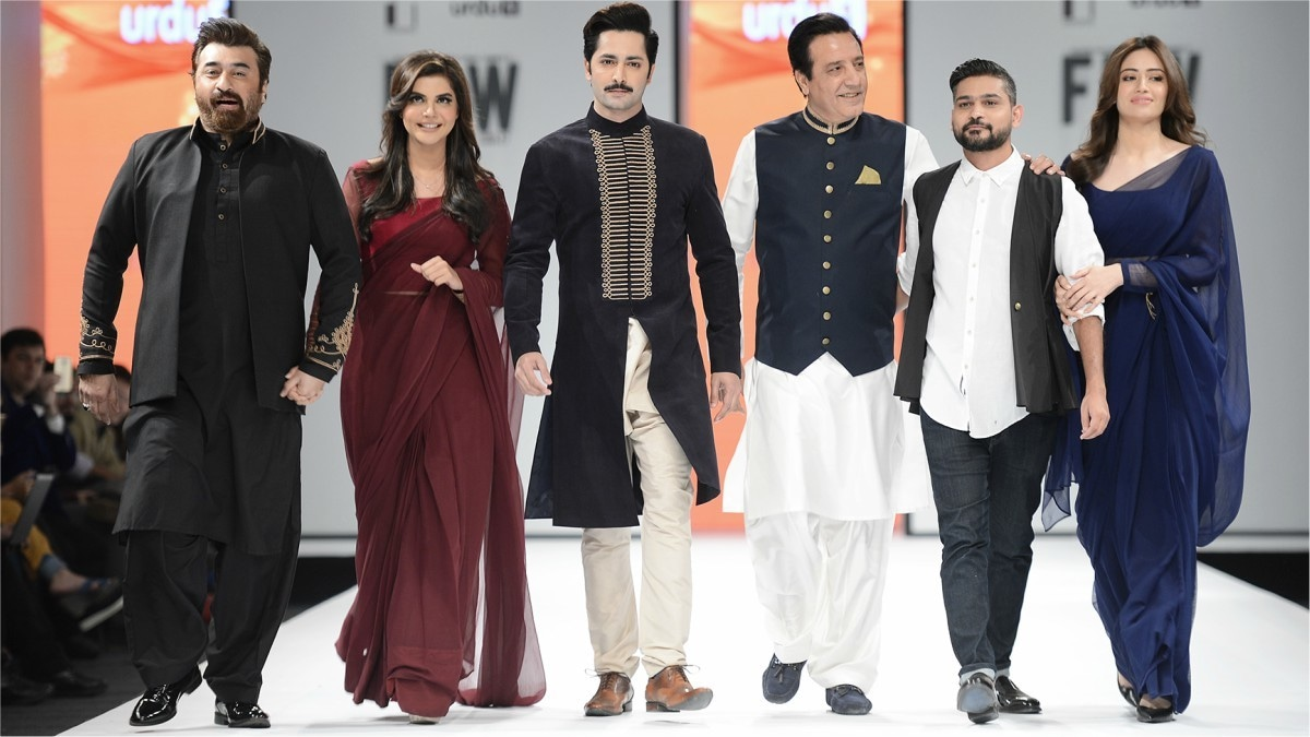 The cast of the upcoming movie Mehrunnisa We Lub You walked clad in Zaheer Abbas