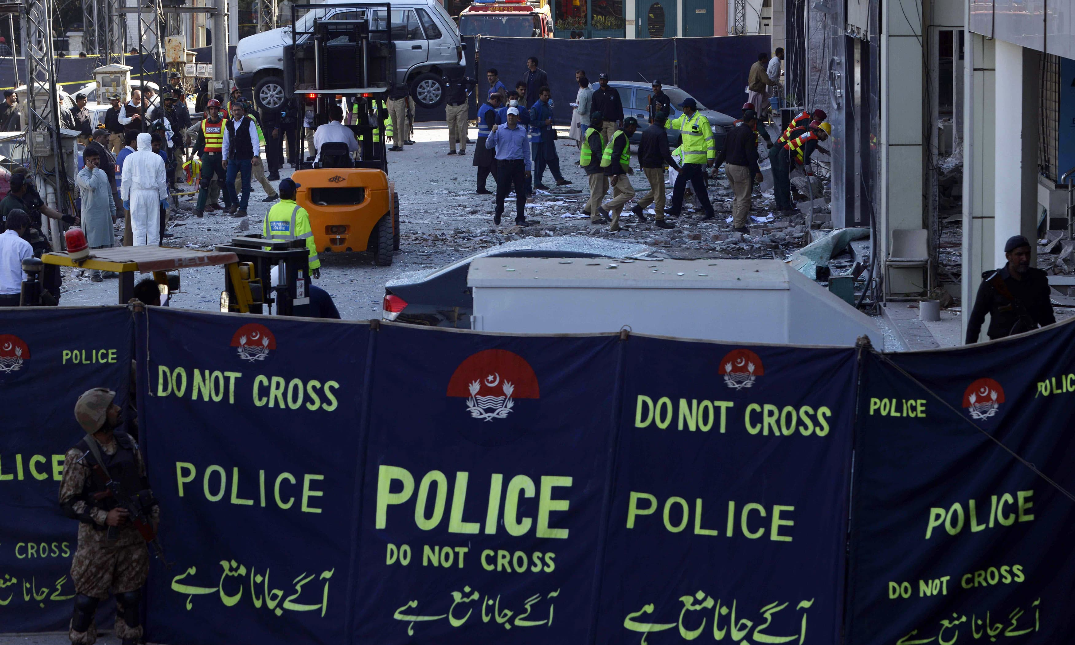 A bomb ripped through Lahore, the tenth attack in just under a fortnight pointing to a resurgence in violence. —AFP