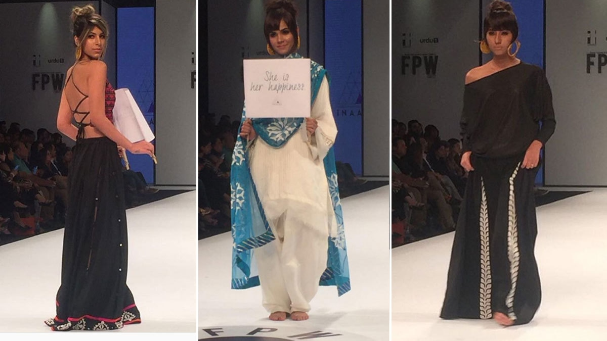 Inaaya took a political stand by displaying placards on the runway for women's empowerment. Photo: Instagram/Fashion Pakistan Official