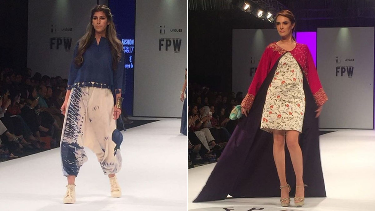Left: Sonya Battla's collection featured blue and white tie-n-dye. Right: Nadia Hussain modelling The Pink Tree collection. Photo: Instagram/Fashion Pakistan Official