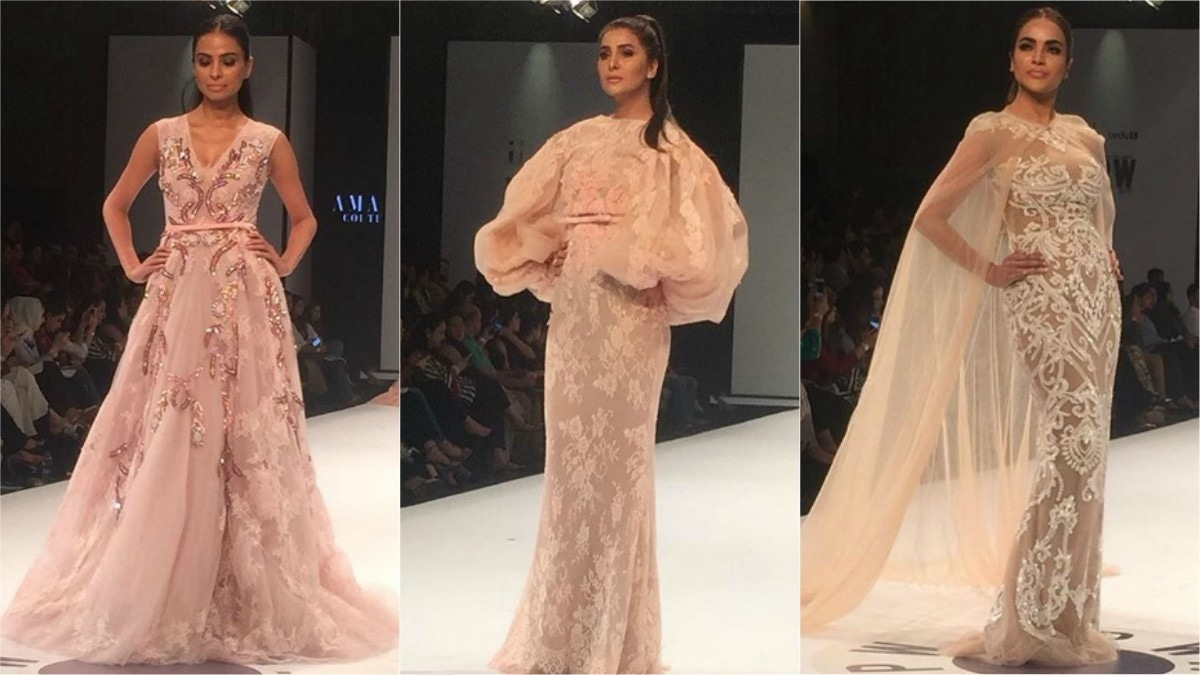 Amato featured florals and floor-length gowns at the FPW. Photo: Instagram/Fashion Pakistan Official
