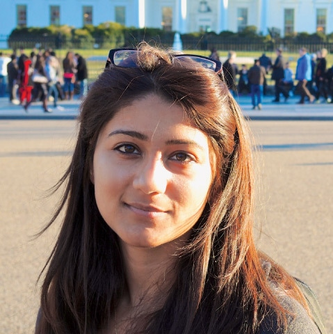 Shehla Wynne in front of the White House in 2013