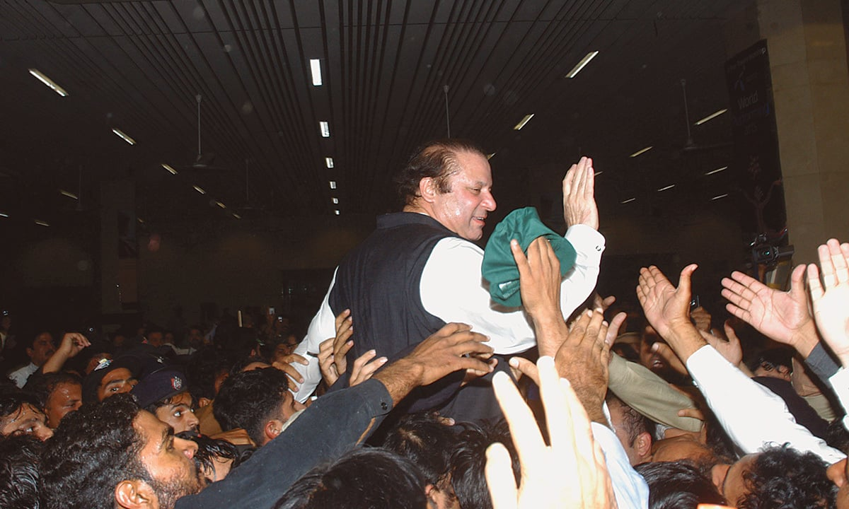 Nawaz Sharif, after eight years in exile, returns to Lahore on November 27, 2007 | Arif Ali