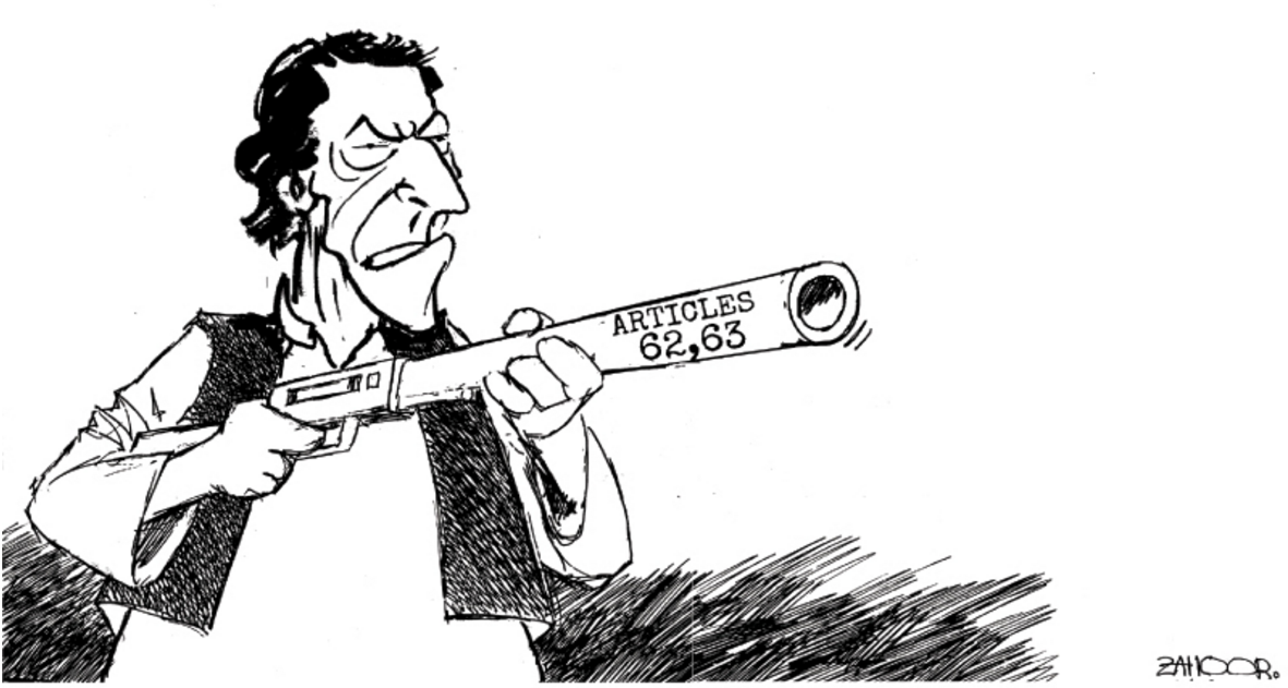 Article 62, 63 of the constitution demand that parliamentarians be 'truthful' and 'honest'. — Zahoor/Dawn