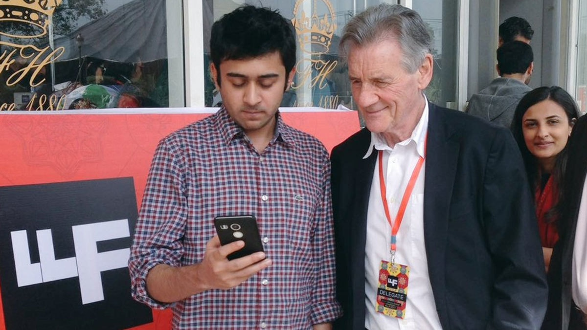 Michael Palin (of Monty Python fame) with a fan at the LLF 2017.