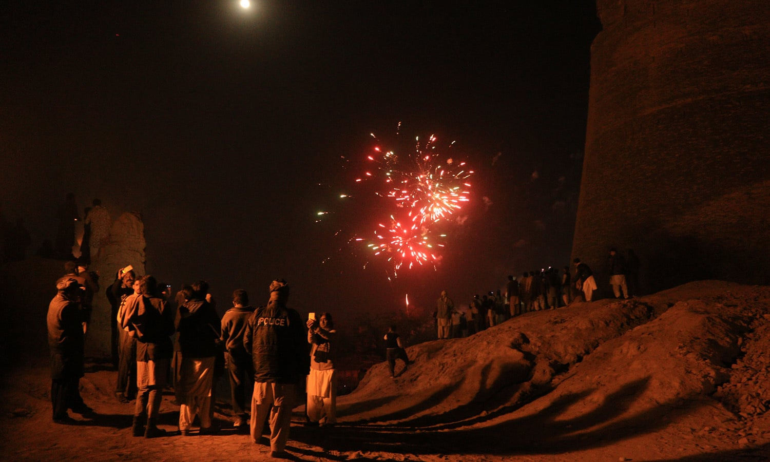 Fireworks at the Cholistan Jeep Rally.