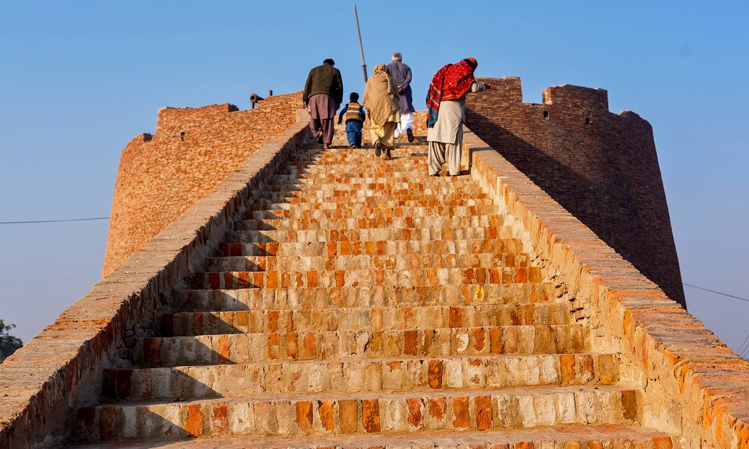 Robust stairs leading to the top of the fort.