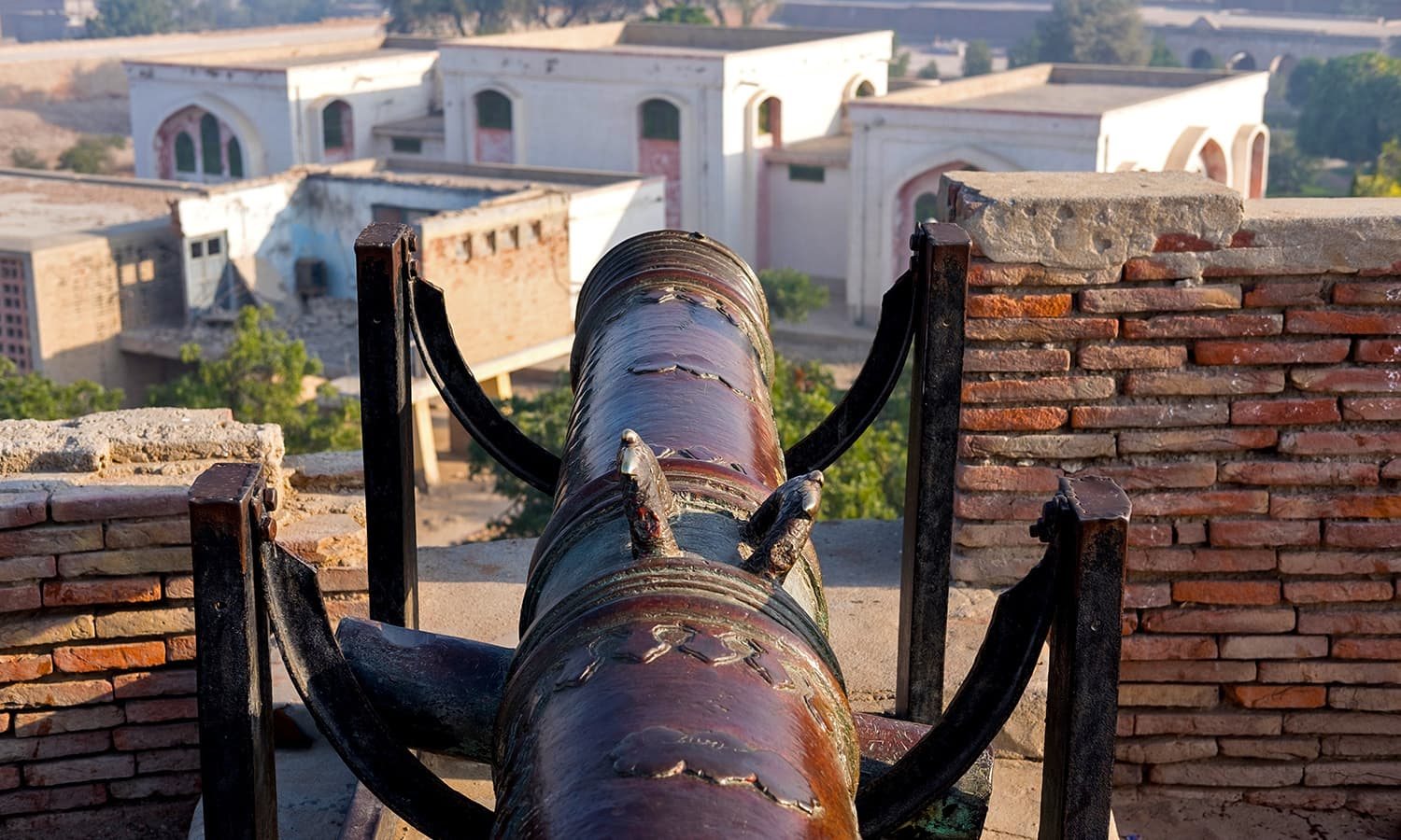 A cannon overlooking the town.