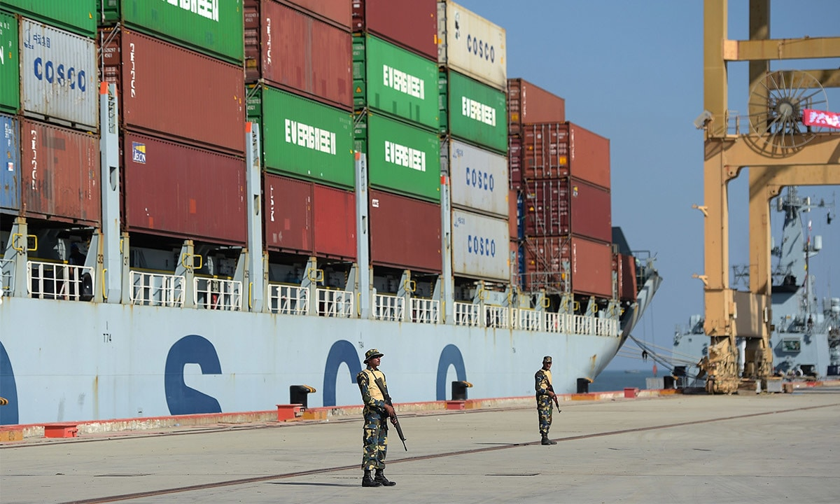 Navy personnel stand guard at Gwadar Port | AFP