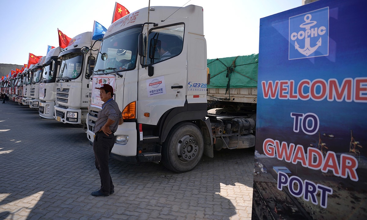 Chinese trucks carrying first trade goods parked at the Gwadar port| AFP