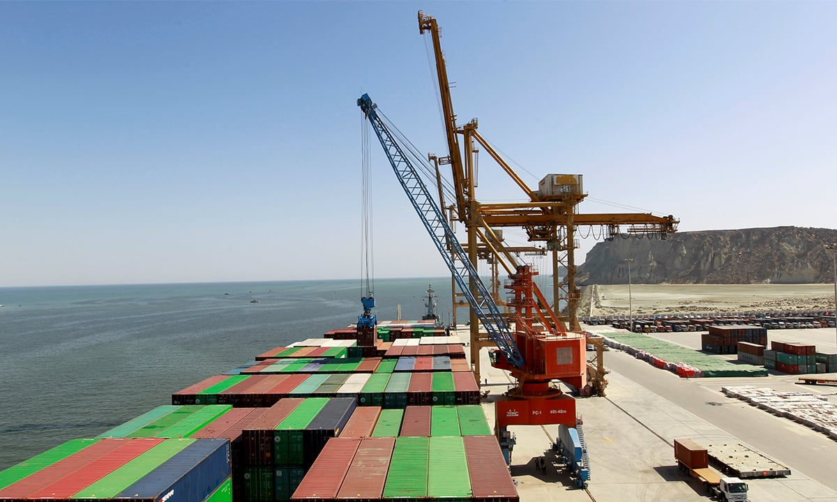 A container being loaded on the first ship to depart from Gwadar Port after its inauguration | REUTERS