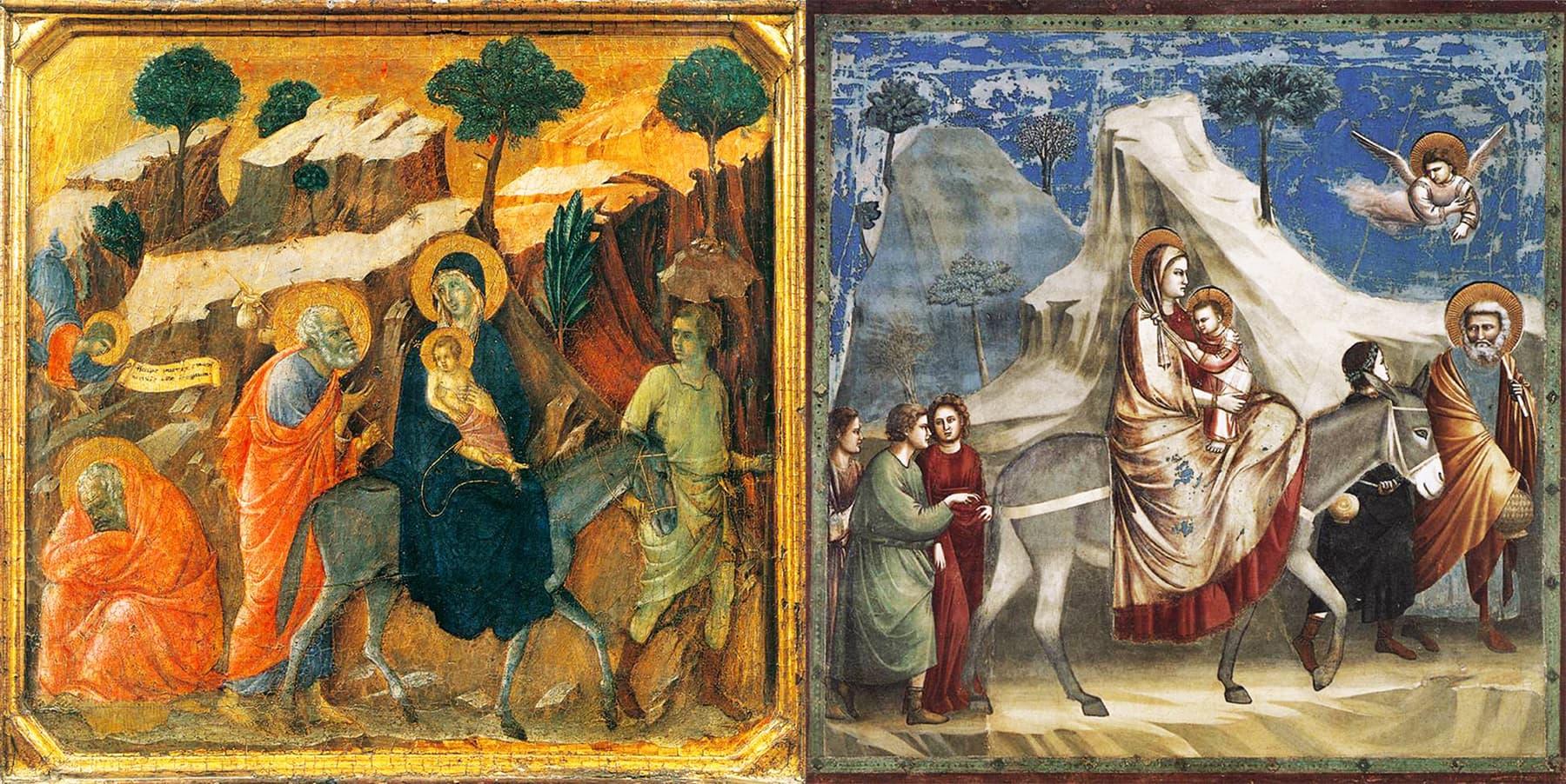 """""""بی بی مریم علیہ السلام کا سفر مصر"""" دائیں جاٹو اور بائیں ڈوچیو کے نقوش۔"""