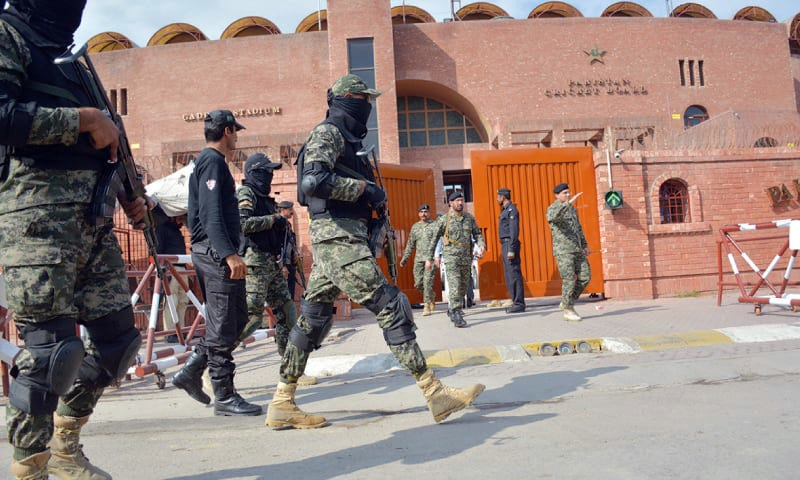 Security personnel patrol the Qadhafi Stadium days before the PSL 2 final.—White Star