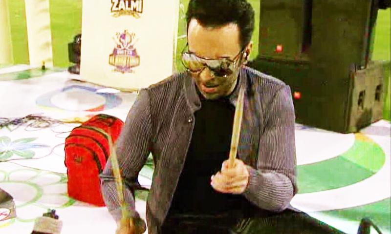 Farhad Humayun on the drums. ─ DawnNews