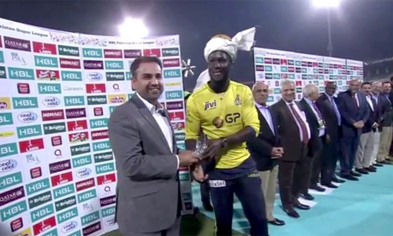 Darren Sammy awarded 'Man of the Final' trophy.