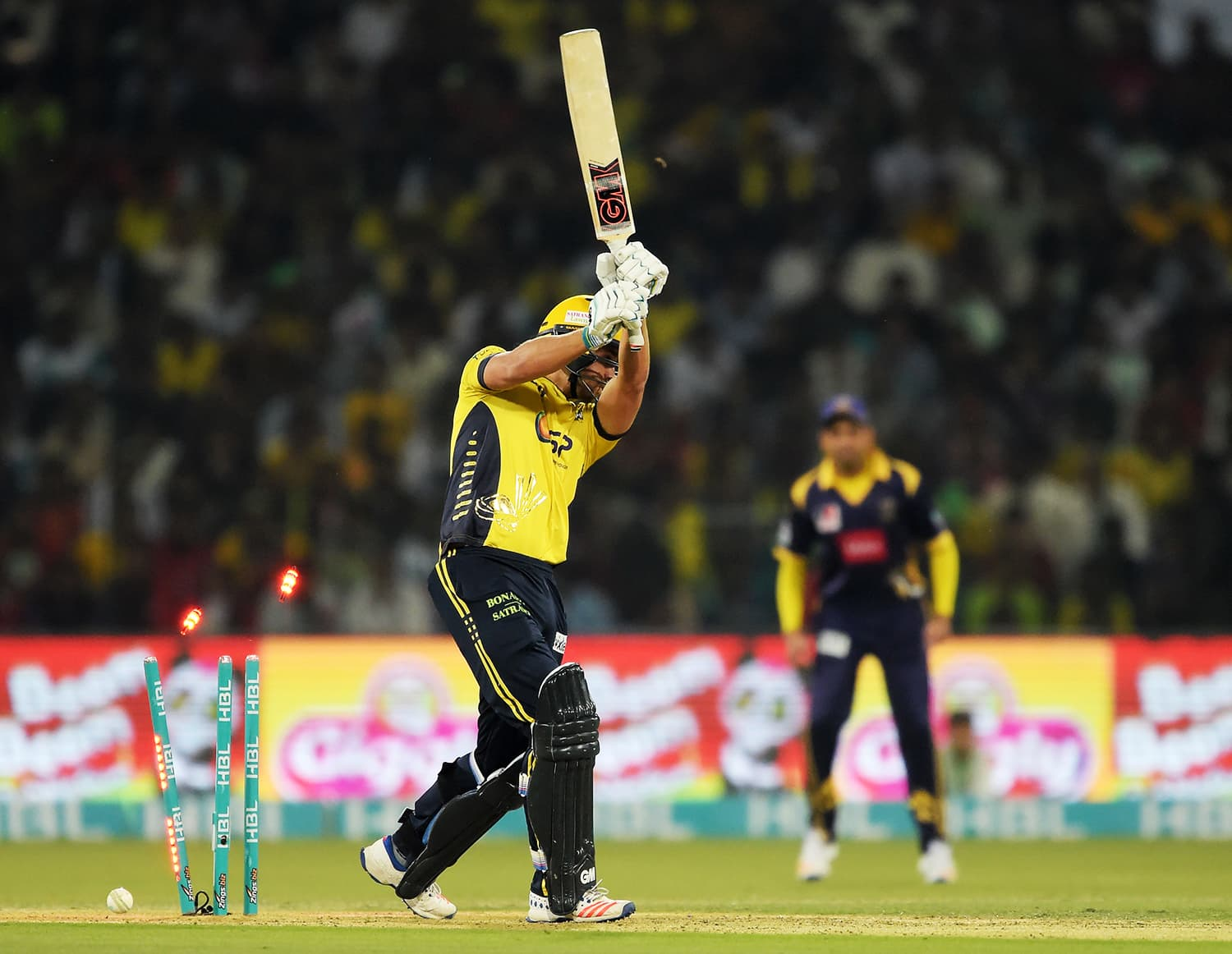 Dawid Malan of Peshawar Zalmi is bowled out. ─ AFP