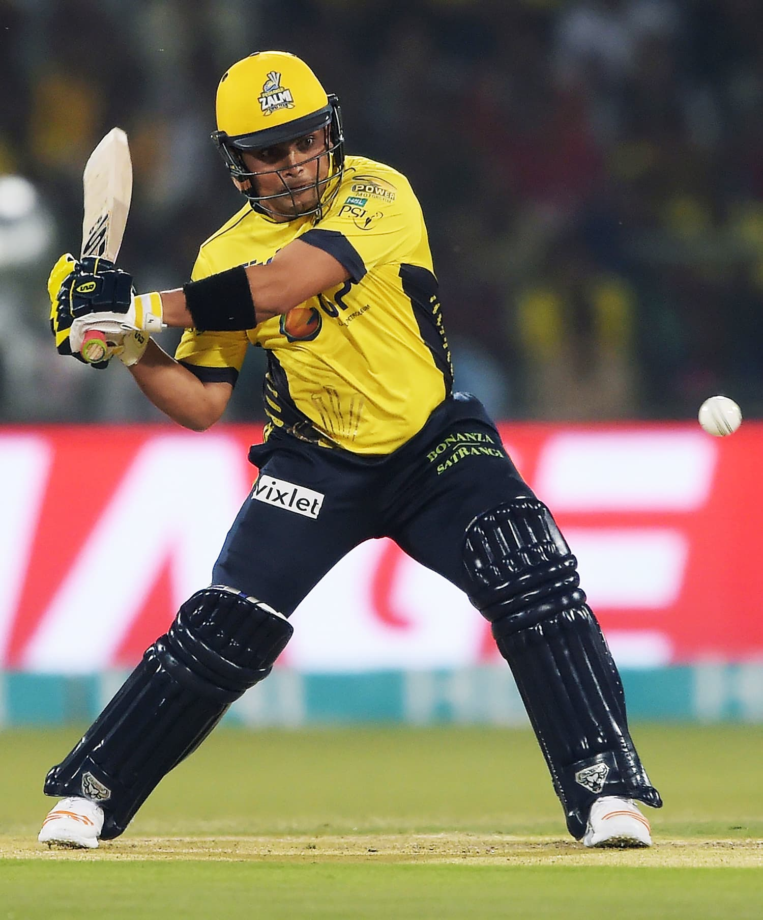 Kamran Akmal of Peshawar Zalmi plays a shot during the final cricket match of the PSL. ─ AFP