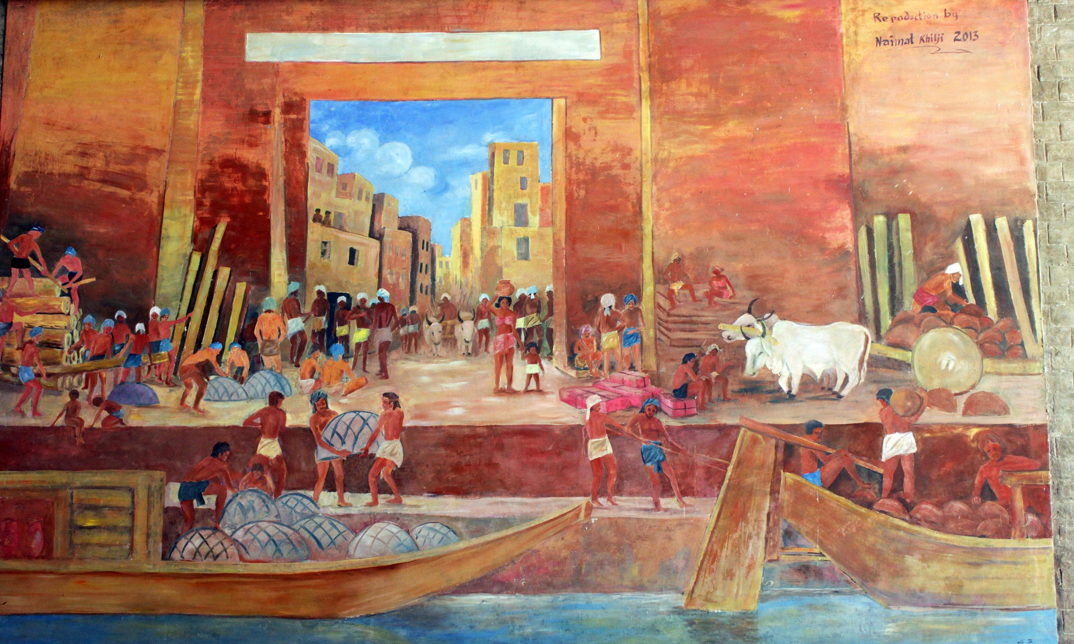 A painting depicting life in the ancient city. —Tauseef Razi Mallick