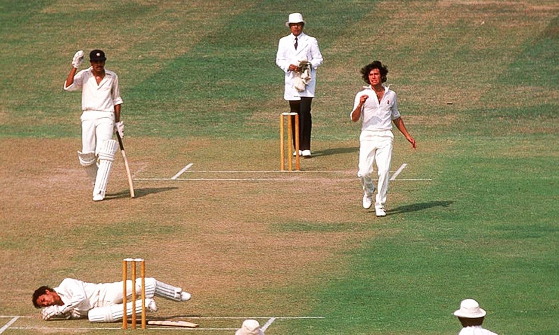1978: Former Pakistan fast bowler, Imran Khan, downs an Indian batsman on an unexpected green-top wicket at Gaddafi Stadium. (Pic: Patrick Edger)