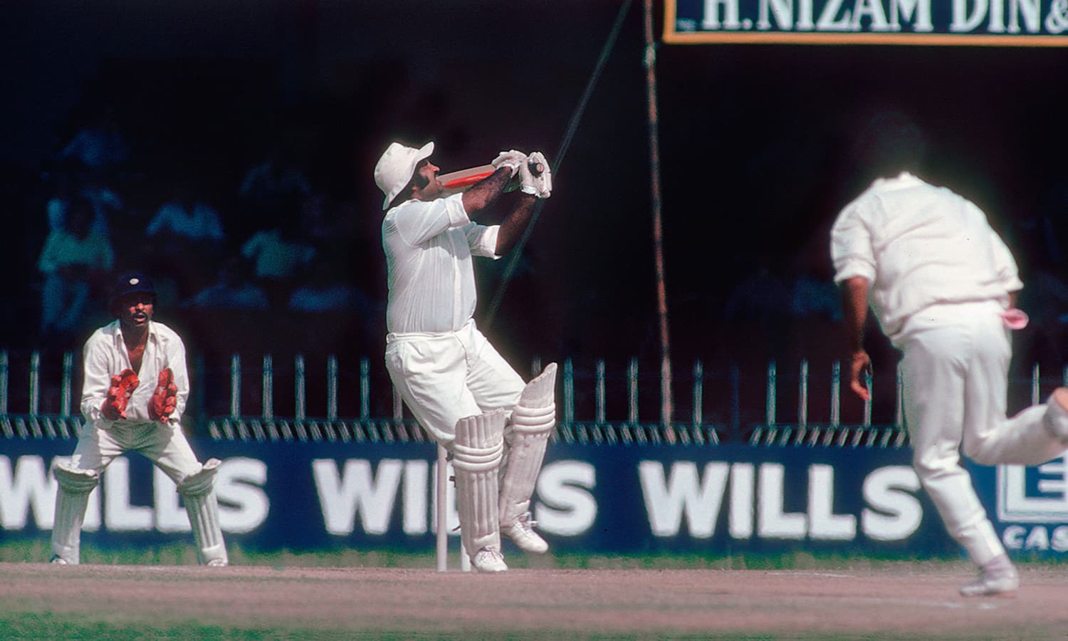 1978: Former Pakistan captain, Mushtaq Muhammad, hooks an Indian bowler during the exciting 1978 Test at National Stadium. (Pic: Patrick Edger)