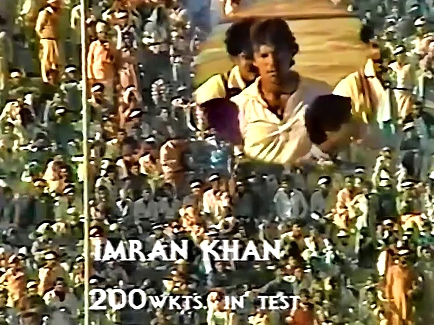 1982: Video-grab of the large crowd applauding Imran Khan's 200th Test wicket which he took against India at National Stadium in 1982.