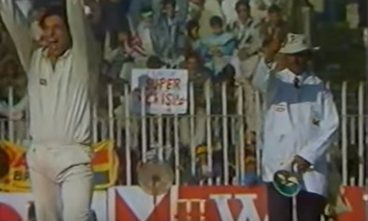 Screen-grab of former Pakistan captain and fast bowler, Wasim Akram, in action during the first-ever Test match played at Rawalpindi Cricket Stadium in 1993.