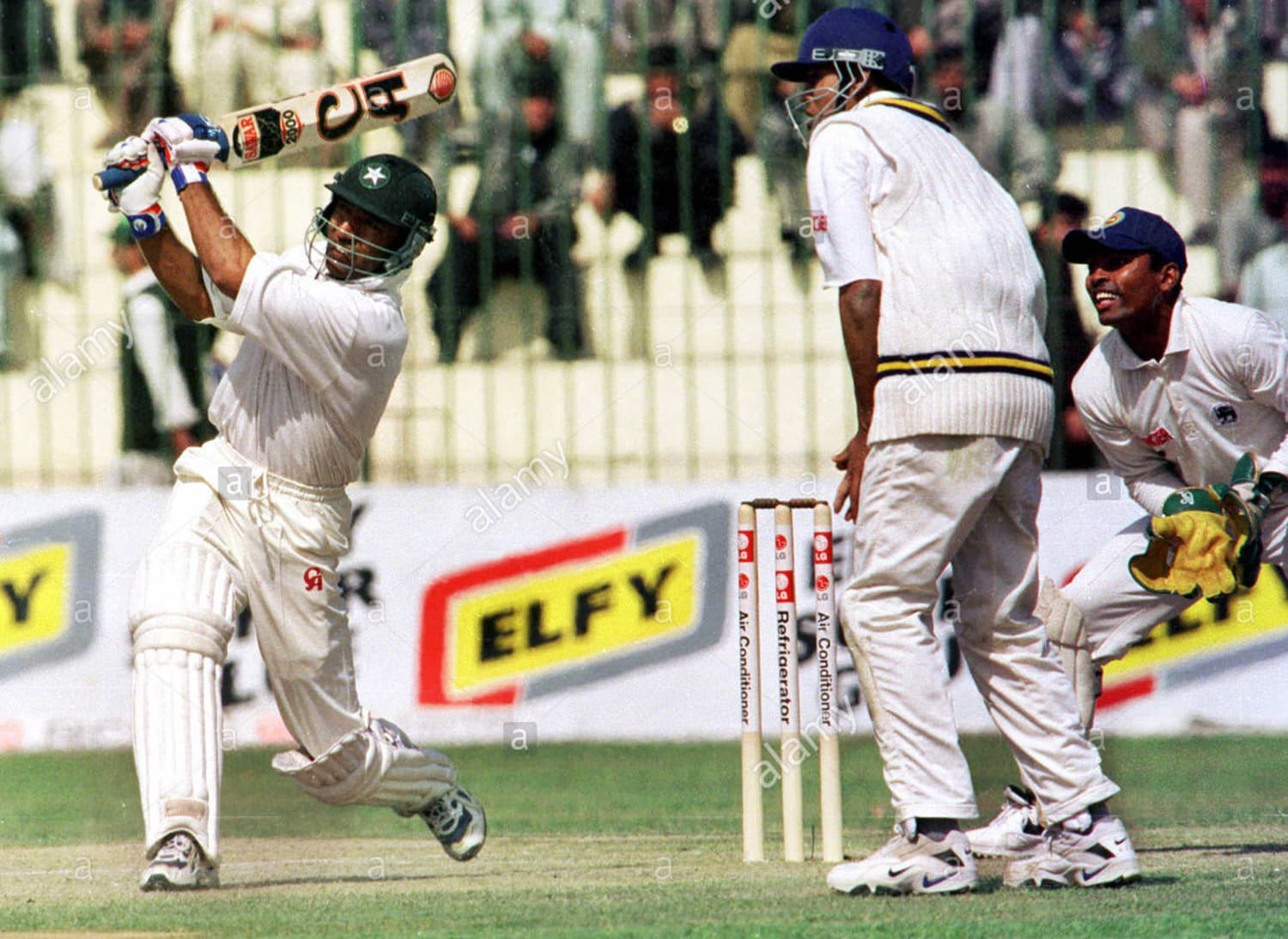 Pakistan batsman, Saeed Anwar, hitting out against Sri Lanka during a Test at Arbab Niaz Stadium in the late 1990s. (Pic: Alamy)