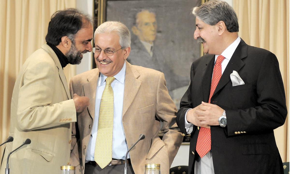 Two lieutenants of prime minister Yousuf Raza Gillani and Raza Rabbani (centre) | White Star