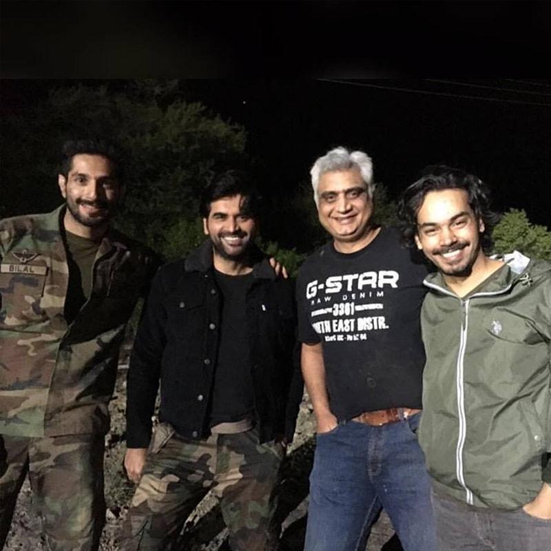 Shooting the last spell of Yalghaar last year. Gohar Rasheed with Bilal Ashraf and Humayun Saeed. Photo: Gohar Rasheed/Facebook.