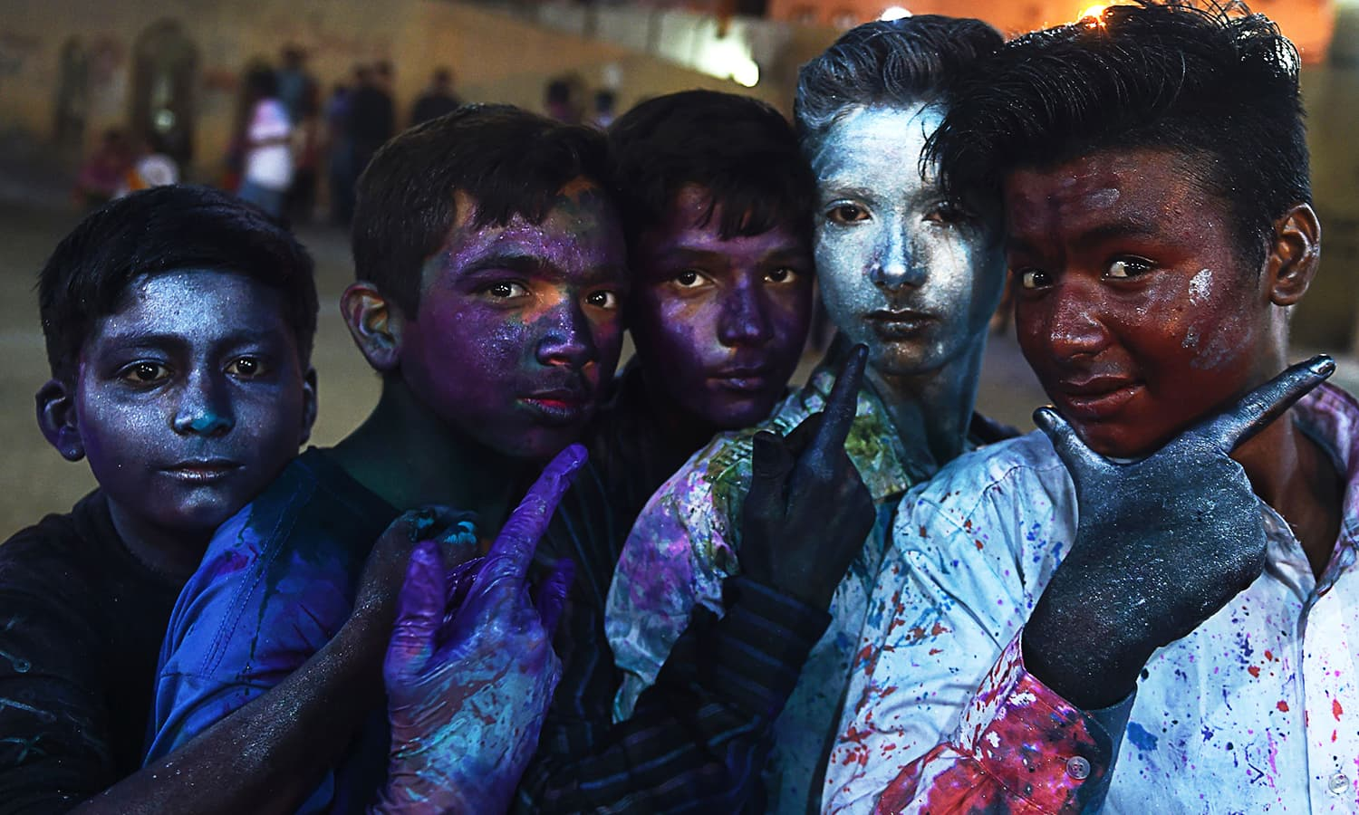 Pakistani Hindu children celebrate holi in Karachi on March 12.— AFP