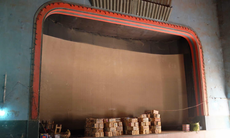 The main cinema hall now a warehouse.