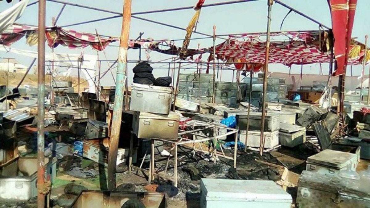 Burnt down set of Padamavati