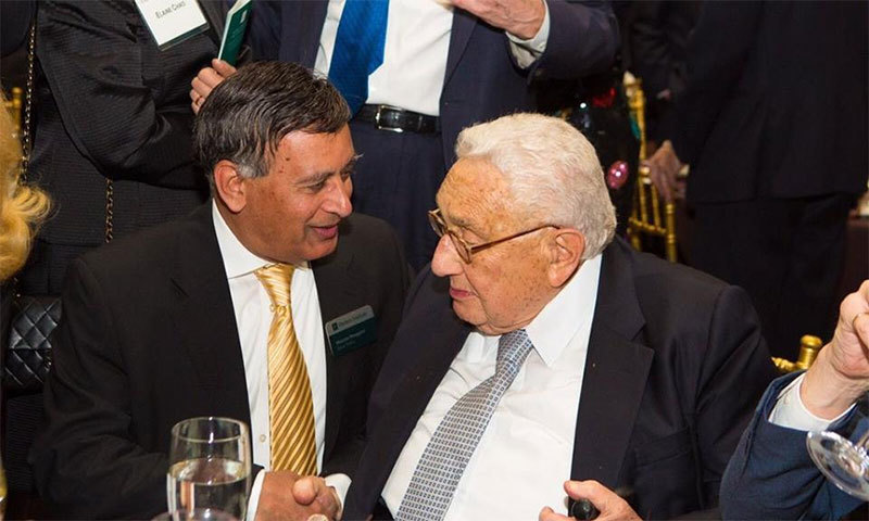 Former ambassador to the US Hussain Haqqani (left) with former US secretary of state Henry Kissinger.