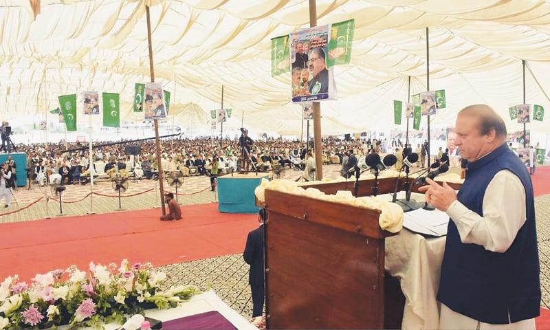 GWADAR: Prime Minister Nawaz Sharif addresses a public gathering here on Thursday.—Online