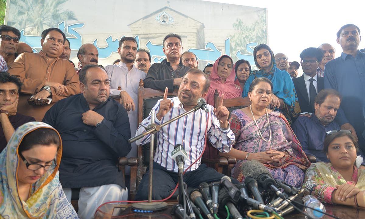 Dr Farooq Sattar addresses a press conference at Karachi Press Club on August 23, 2016 | Faysal Mujeeb, White Star