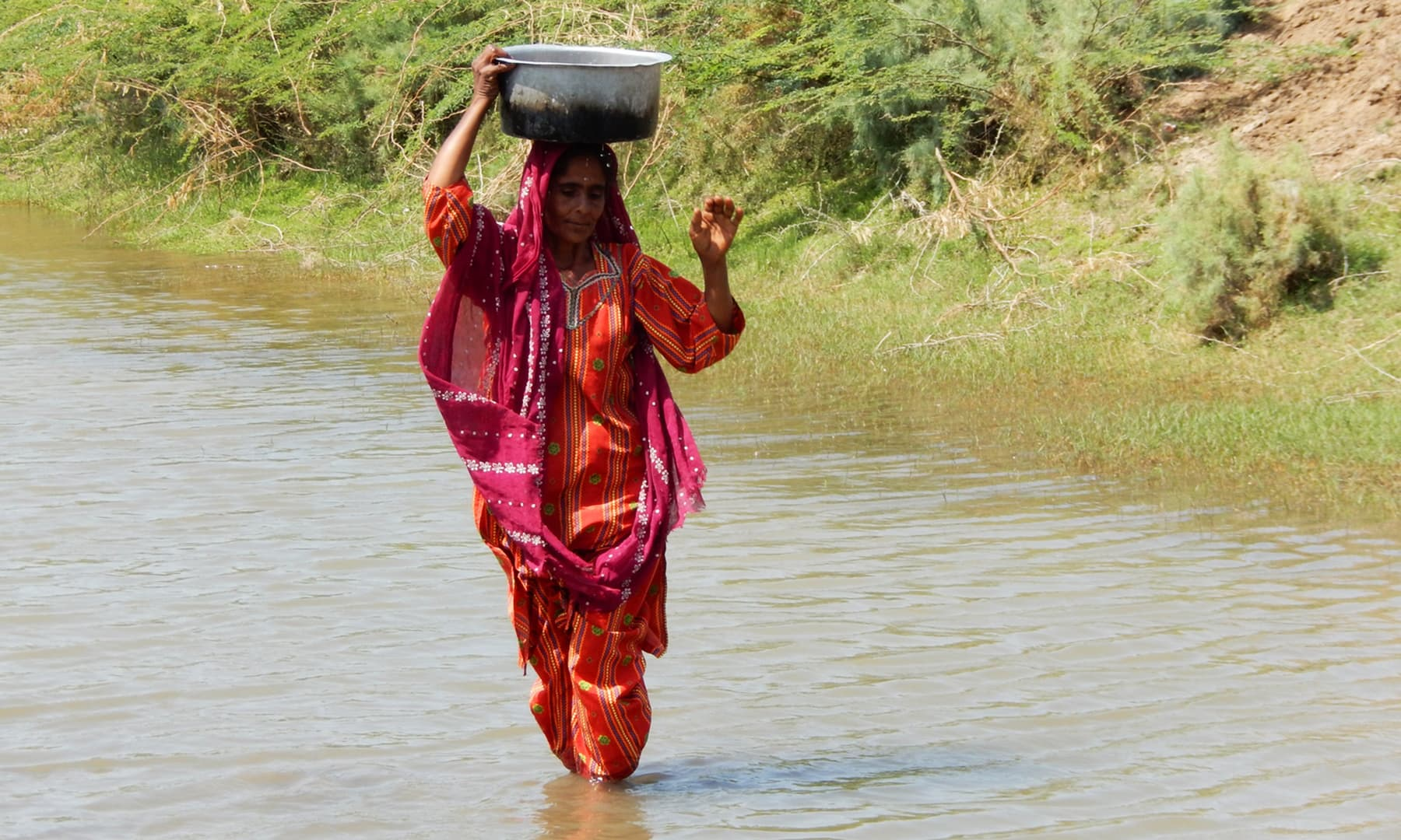 مائی قذبانو تالاب سے پانی بھر کر لا رہی ہے — تصویر ابوبکر شیخ