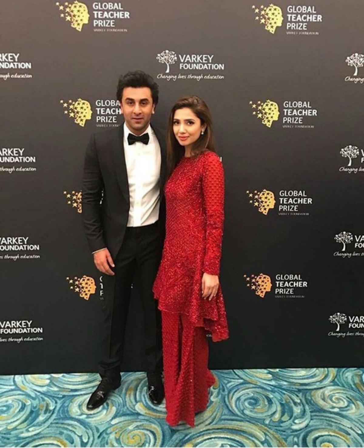 Ranbir Kapoor and Mahira Khan at the Global Teacher Prize.