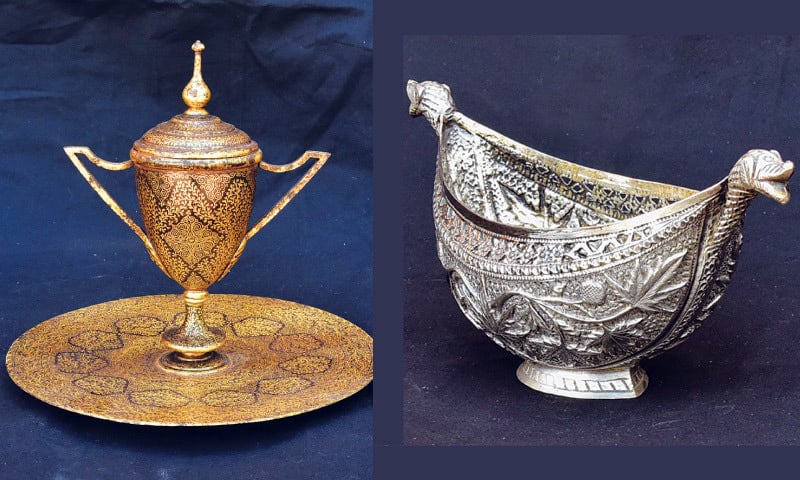 [Left] Ink pot (Siyahidaan), mid 19th century (Private Collection). [Right] Richly worked floral designs engraved on this 19th-century kashkol-shaped silver vessel make it a collector's item. (Private Collection).