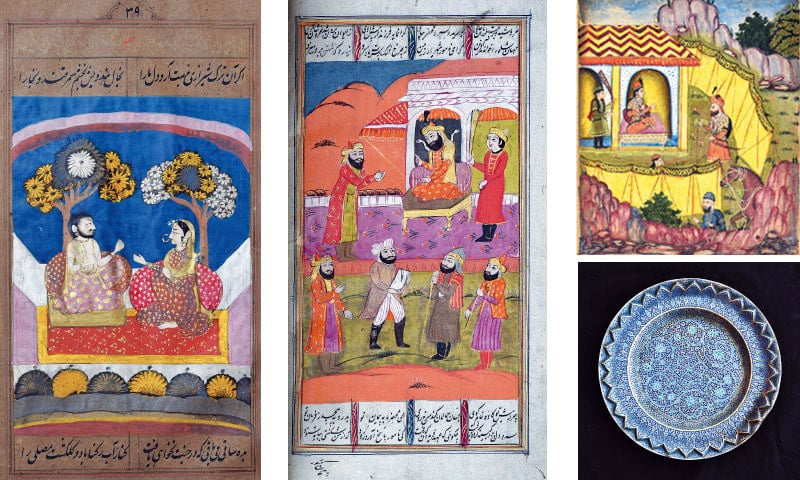 [From left-right] Masterpieces of Kashmiri Miniature painting from the Divan-i-Hafiz (Anthology), the Bahar-i-Danish (The Springtime of Knowledge), and the Shahnama (Book of Kings)  (National Museum of Pakistan). [Bottom right] Shades of blue and turquoise enamel delicately highlight the fine flower motifs on his early 19th century silver tray. (Private Collection)