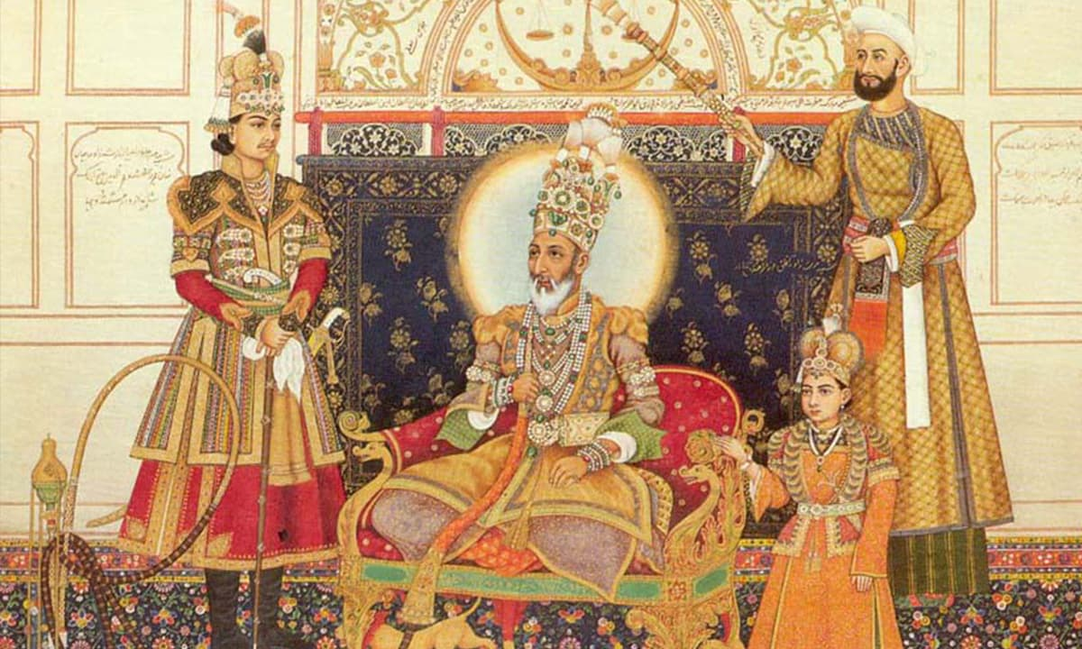 Bahadur Shah and two of his sons, 1838 | Wikipedia via  *A Second Paradise: Indian Courtly Life 1590-1947*, by Naveen Patnaik