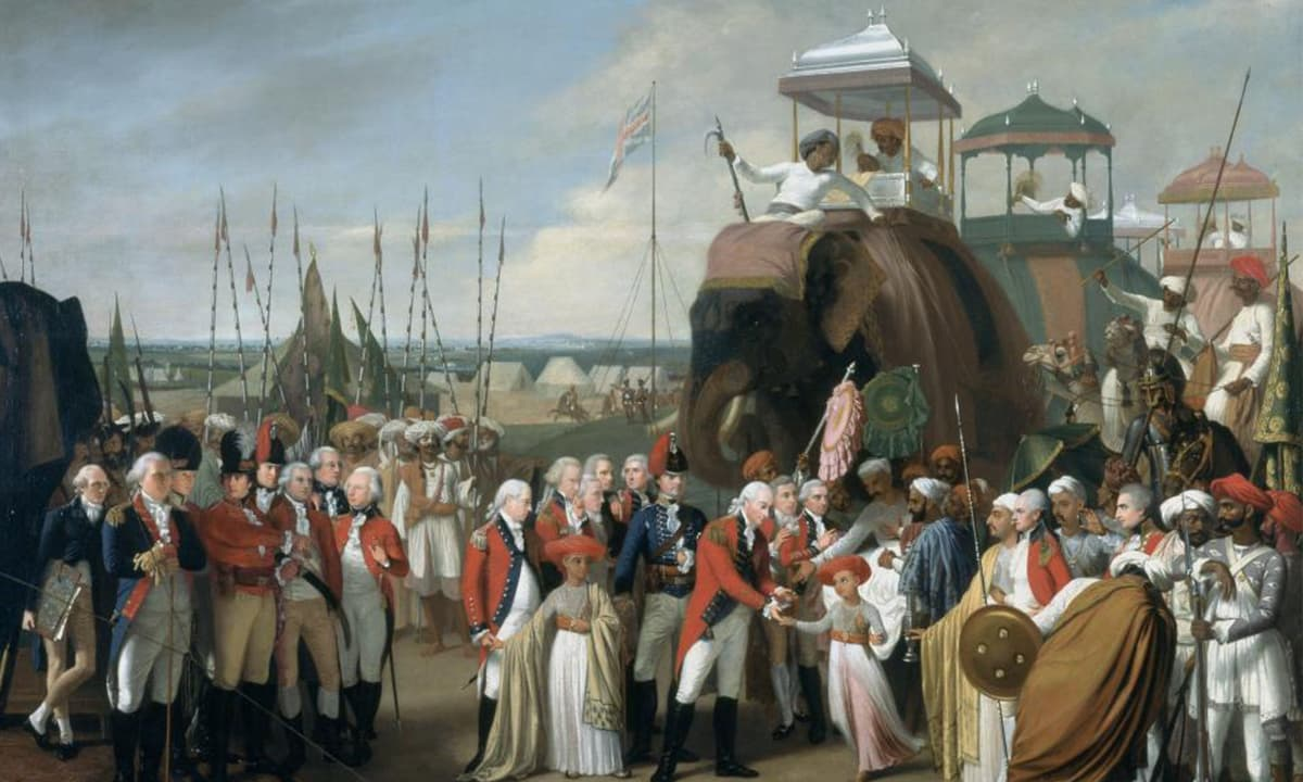 General Lord Cornwallis receiving Tipoo Sultan's sons as hostages, by Robert Home, 1793