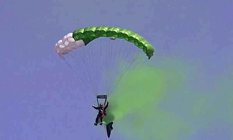 A paratrooper jumps from 10,000 feet.— DawnNews