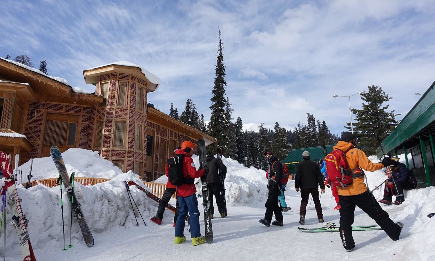 Skiers wait to embark on the gondola at Gulmarg in Indian-administered Kashmir.─AFP