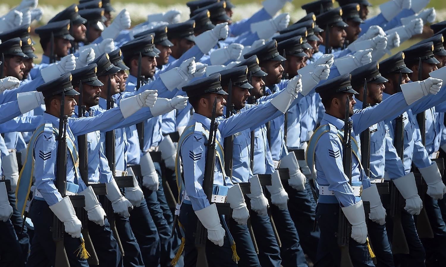 Pakistan Air Force soldiers march past during a Pakistan Day military parade.─AFP