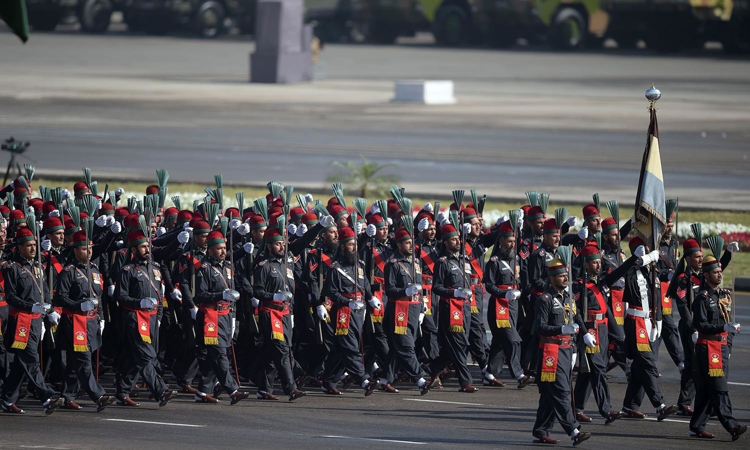 Pakistan paramilitary soldiers march past during a Pakistan Day military parade.─AFP