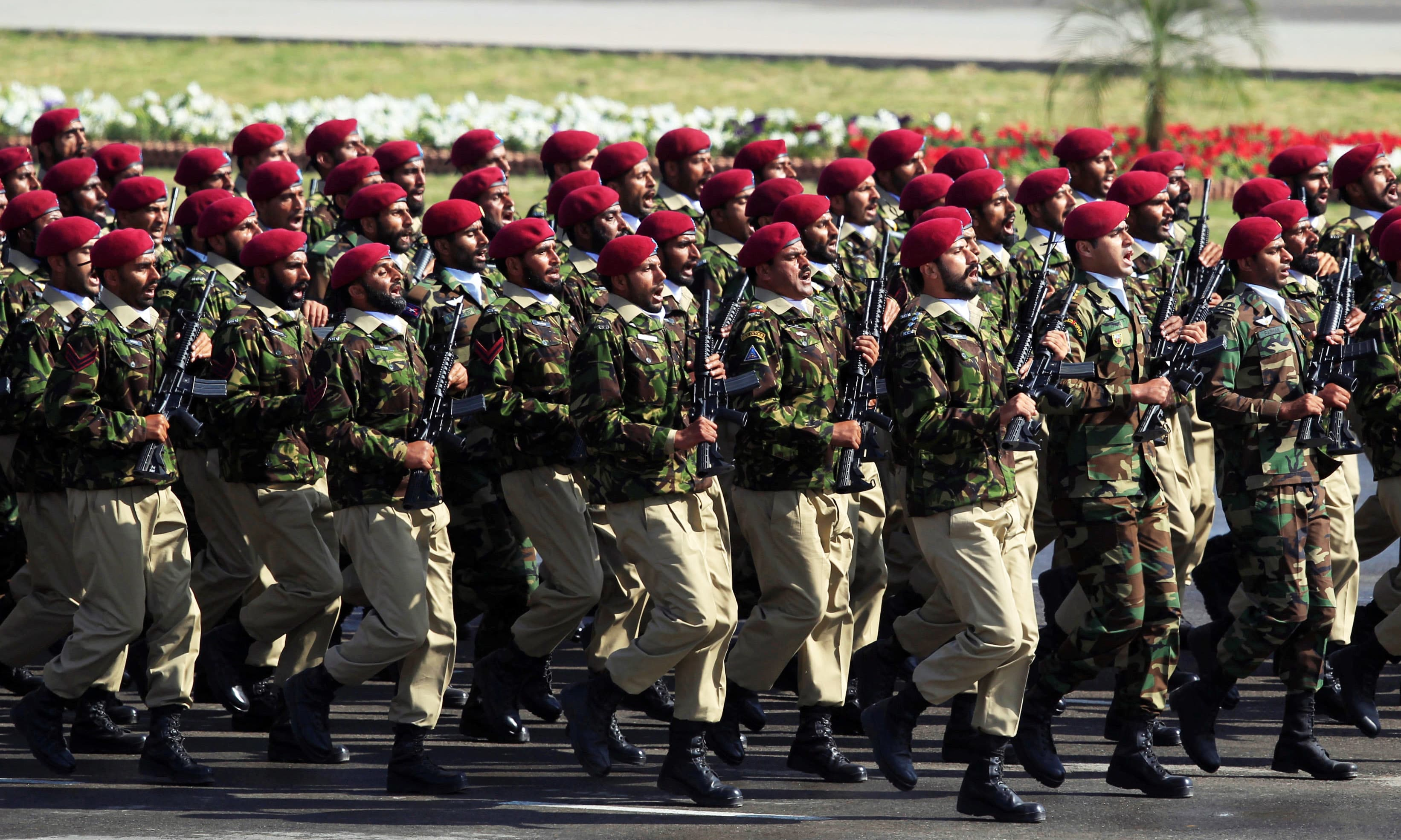 Special Services Group commandos march during Pakistan Day parade in Islamabad. —Reuters
